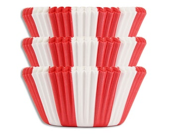 Red Circus Stripe Baking Cups - bright red striped cupcake liners, cupcake papers