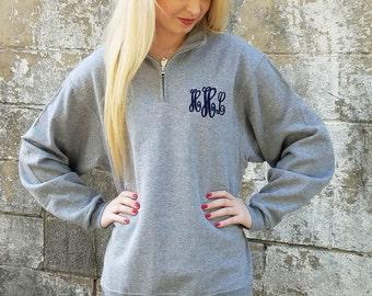 Monogrammed Quarter Zip Pullover, Monogram Quarter Zip Sweatshirt, Christmas Gift for Her, Gift for Girlfriend, Gift for Wife
