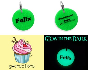 GLOWING Pet ID Tag - Small Round Cat and Dog Tag - Custom Color -Handmade Cute Pet Bling - Luminous Pet Collar Accessory - Personalized Name