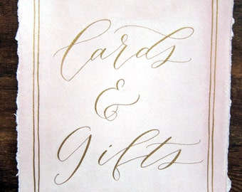 Watercolor wedding signs (cards and gifts or other signs) in modern calligraphy for weddings, parties and events