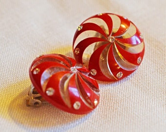 Vintage Earrings - Lucite, Red and Clear Pinwheels with Rhinestones, 1950s, Clip Earrings