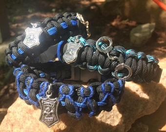 Police Thin Blue Line Paracord Bracelet, New looks, stainless steel buckle