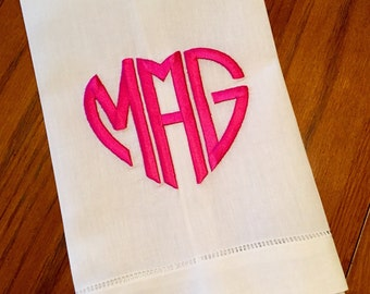 Heart Monogram Hand Towel