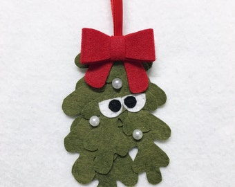 Limited Edition Mistletoe Ornament, Christmas Ornament, Felt Holiday Ornament, Marshall the Mistletoe, Secret Santa Gift, Coworker Gift