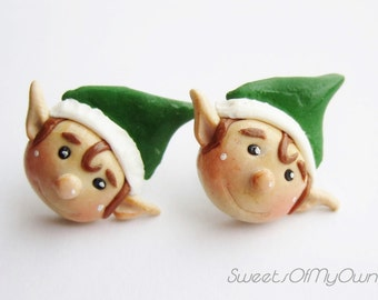 Christmas Elf Earrings - Stud Earrings - Santa's Helper Made with Fimo Clay Cute Jewellery