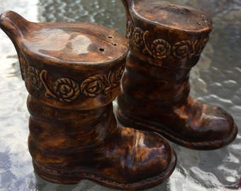 SALE Salt Pepper Shakers Tooled Leather Boots Hand Painted Vintage
