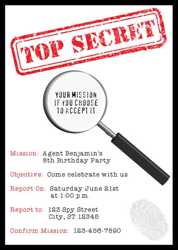 Spy Invitation PRINTABLE Secret Agent Birthday Party