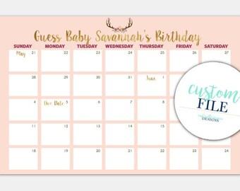 PINK Custom  -  Baby Shower  -  Printable Calendar  - Digital File