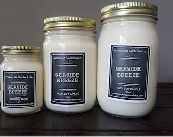 Summer Candle, Ocean Candle, Beach Candle, Seaside Candle, Sea Breeze Candle, Mason Jar Candle,Mason Jar Candles, Vegan Candle, Soy Candle