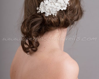 Bridal Lace Hair Comb, Wedding Lace Headpiece, Wedding Hair Accessory, White or Light Ivory - Bridget