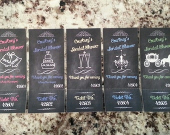 Perforated Chalkboard Bridal Shower Raffle Tickets