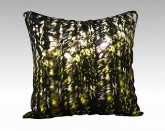 Designer Pillow Cover - Modern Pillow - Abstract Art Pillow - Velveteen Pillow Cover - Impressionist Pillow - Green and Black Pillow