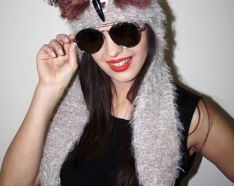 Fuzzy Owl Hat Owl Hat gehaakte hoed patroon muts met oor klapt oor klep hoed wollen hoed oor kleppen bos dierlijke hoed