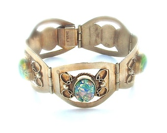 Vintage Sterling Silver Cuff Foil Colorful Crackle Opal Handmade Bracelet Silver Jewelry