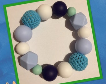 Teething toy, teething ring, blue, silicone beads breastfeeding sensory baby toy shower gift