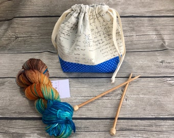 What's the Equation? -- Project Bag -- Drawstring Knitting Bag -- Yarn Bag -- Crochet Bag
