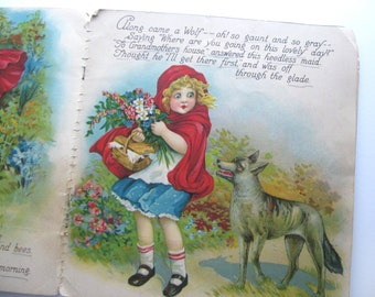 Vintage Little Red Riding Hood Book 1929 - Illustrations by Frances Brundage - Vivid Color Lithograph Prints could be Framed -Fair Condition