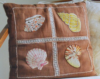 Vintage Embroidered Shell Pillow