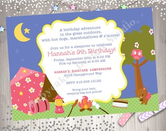 Girl Camping Birthday Invitation girl camping invitations bonfire camping sleepover invitation campfire cookout birthday party printable