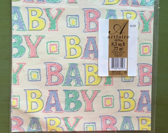 Retro vintage baby wrapping paper in original packaging