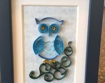 Whimsical Blue Owl