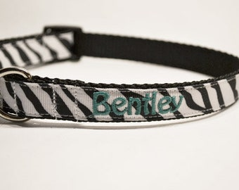 """Personalized Dog Collar - Zebra Dog Collar - Made to order - 3/4"""" wide"""