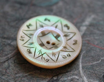 Engraved Antique Shell Button
