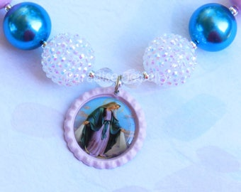 Our Lady of Grace, Pink Bubblegum Necklace, Catholic Pendant, Kids Chunky Heart Bead, Mother Mary Pendant, Catholic Jewelry Catholic Gifts