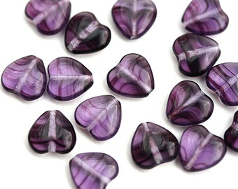 10mm Purple Heart beads Striped Violet Purple czech glass pressed beads Amethyst hearts 20Pc - 1492