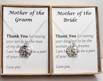 Set of 2 Mother of the bride-mother of the groom-family tree necklace-life tree necklace-mother wedding gift-wedding necklace-tree pendant