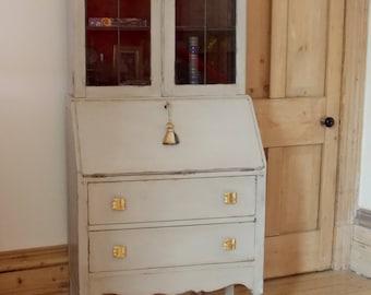 Vintage Oak bureau bookcase with leaded glazed doors hand painted Annie Sloan Chalk Paint in Pale Grey