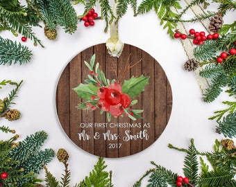 Wedding Ornament, Personalized Wedding Gift, Newlywed Christmas Ornament Just Married, Wedding Ornament for Couple (206)