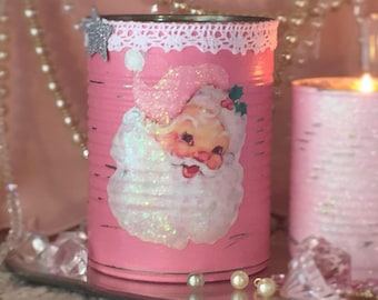 Pink Christmas Vase Tin Can Shabby Chic Santa Claus Father Xmas Tree Decor Decoration Candy Dish Candle Holder Gift by SWEET VINTAGE DESIGNS