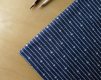 ORGANIC Dem Bones Skull Stripe in Warm Black/Grey & Cream Sarah Watson for Cloud 9 - Half Yard - Modern Quilting Sewing Craft Cotton Fabric