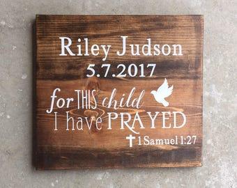 Custom Baptism Wood Sign | Personalized Dedication Wood Sign | Baptism Gift | Dedication Gift | Baptism Decor
