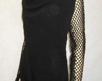 1930's Black Crepe Evening Gown