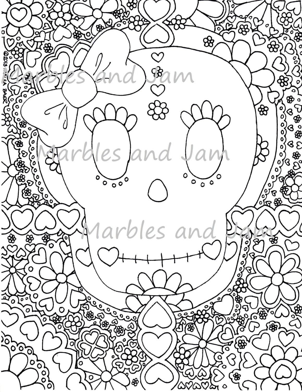 Día de la página para colorear de muertos calaveras de azúcar