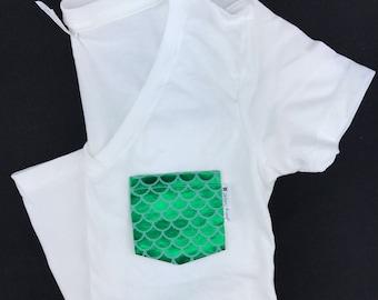 Mermaid Scales Pocket T-shirt,  Pocket Tee Shirt , Pocket Tee