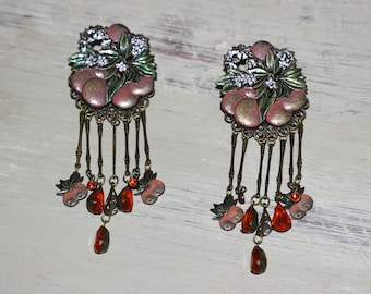 """Vintage Pair Clip on Dangling Earrings Gold Tone Fruit and Floral Filigree with Orange Glass Stones 