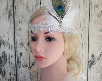 LISALI 1920s Flapper Headbands Great Gatsby Headpiece rhinestone Headband Wedding Bridal Flower Art Deco headband  Accessories
