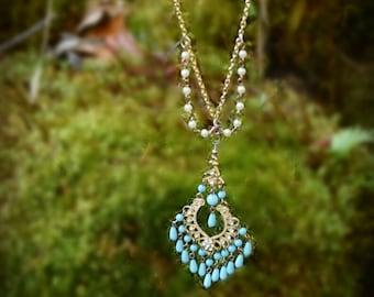 Gypsy Bead Chandelier Necklace
