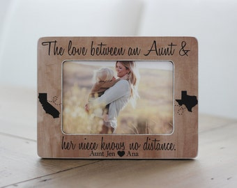Long Distance, Gift for Aunt, Aunt Frame, Aunt and Niece, Niece Frame, Love Between Knows No Distance Quote States, Personalized GIFT