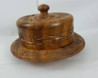 Vintage Solid Wood Cake Stand With Cover Tiki Bar Mid Century Wooden Carved