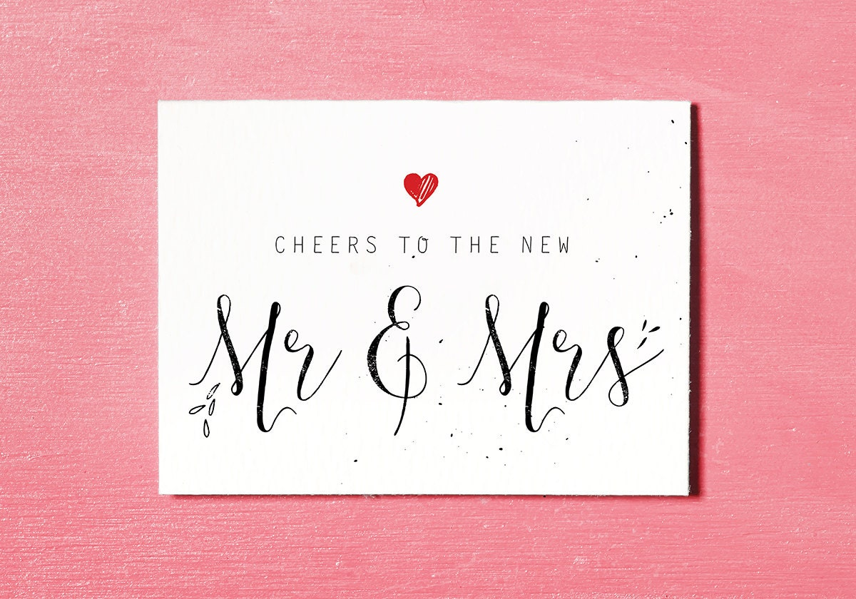 Wedding Gift Cards Online: Mr & Mrs Printable Wedding Card Congratulations Bride And