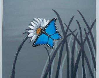 Original Folk Art Painting: Blue Butterfly Reverse Silhouette