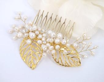 Cleo - or 18 carats plaqué de feuilles d'or et eau douce perle Bridal peigne