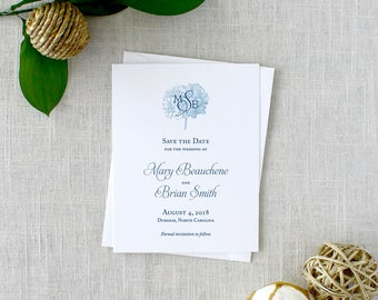 Printed Hydrangea Save the Dates, Blue Hydrangea Save the Dates, Light Blue Floral Save the Dates, Printed Cards, Monogram Save the Dates
