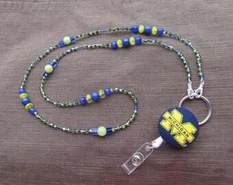 Michigan Wolverines ID Badge Lanyard Yellow & Blue ID Retractable Badge Reel