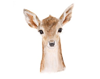 Woodland Nursery Art, Deer Art Print for Girls Room, Baby Woodland Animal Watercolor Print, Woodland Deer Nursery Art