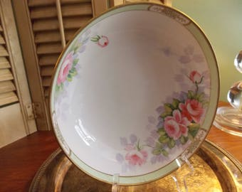 Large Serving BOWL - NIPPON FOOTED Bowl, Hand Painted China Serving Ware Dish